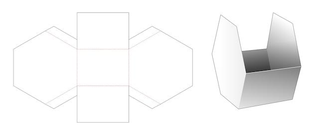 Kartonnen zeshoekige snackcontainer gestanst sjabloon Premium Vector