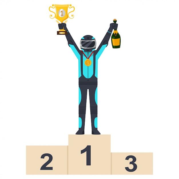 Kartracewinnaar op podium met gouden kop Premium Vector