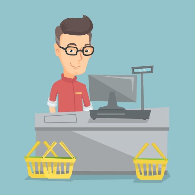 Kassier die zich bij de kassa in een supermarkt bevindt. Premium Vector
