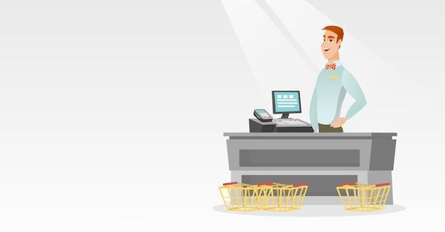 Kassier permanent aan de kassa in een supermarkt. Premium Vector
