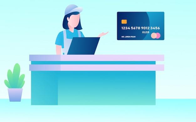 Kassier werknemer op de shopping markt Premium Vector