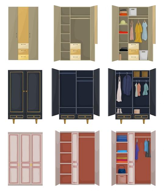 Kast cartoon ingesteld pictogram. illustratie kast op witte achtergrond. geïsoleerde cartoon set pictogrammen kast. Premium Vector