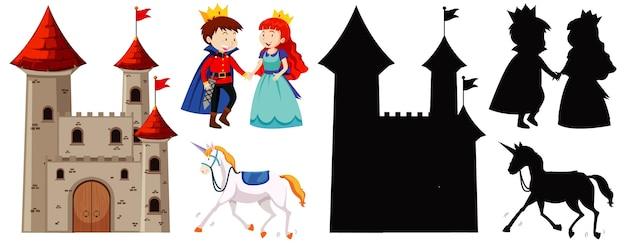Kasteel met prins en prinses en paard in kleur en silhouet op wit wordt geïsoleerd Gratis Vector