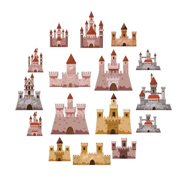 Kasteel toren iconen set, cartoon stijl Premium Vector