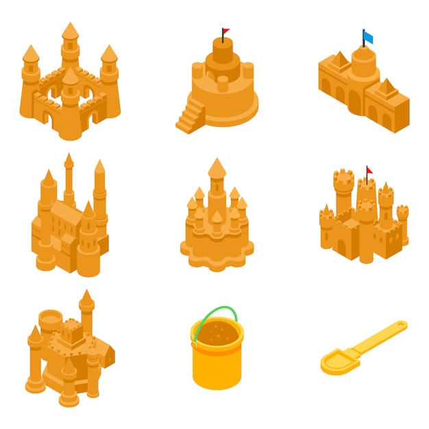 Kasteel zand iconen set, isometrische stijl Premium Vector