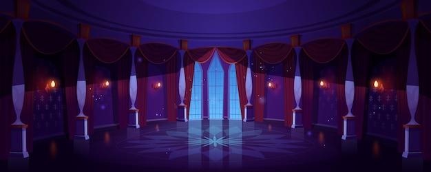 Kasteelbalzaal, nacht lege paleiszaal interieur met gloeiende lampen Gratis Vector