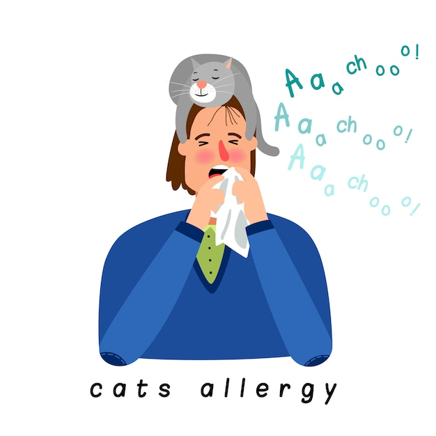 Kat allergie vrouw Premium Vector
