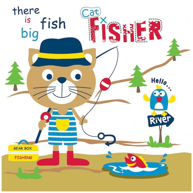 Kat de visser grappige dieren tekenfilm, vectorillustratie Premium Vector
