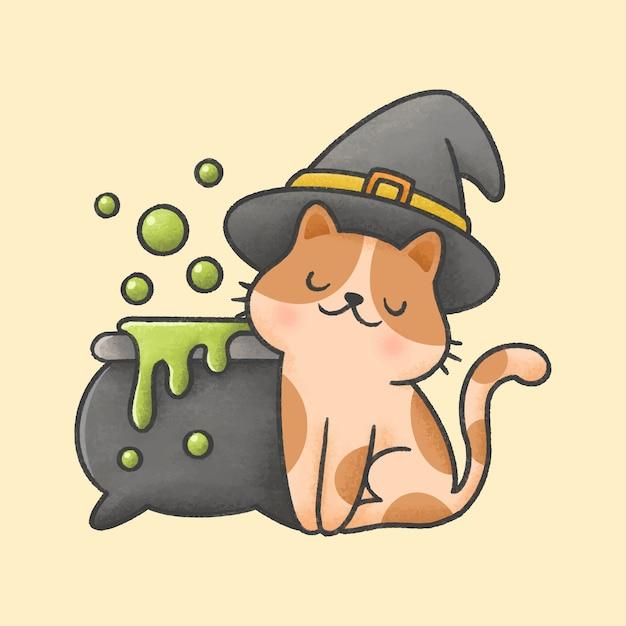 Kat die heksenhoed en vergiftpot met bellen draagt Premium Vector