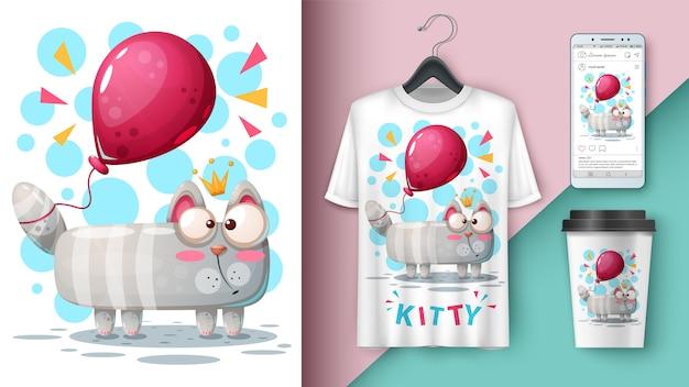 Kat en ballon en merchandising Premium Vector