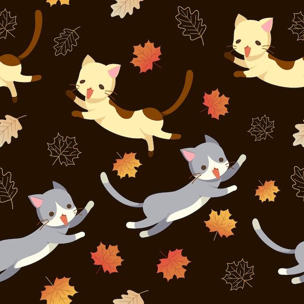 Kat en herfstbladeren naadloos patroon Premium Vector