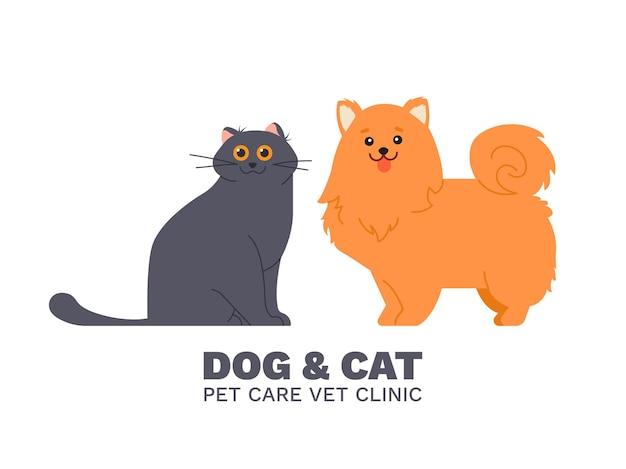 Kat en hond, dierenarts dierenarts kliniek illustratie Premium Vector