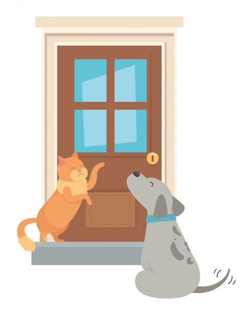 Kat en hond van cartoon Gratis Vector