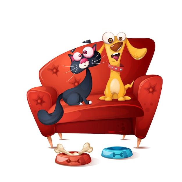 Kat en hond Premium Vector