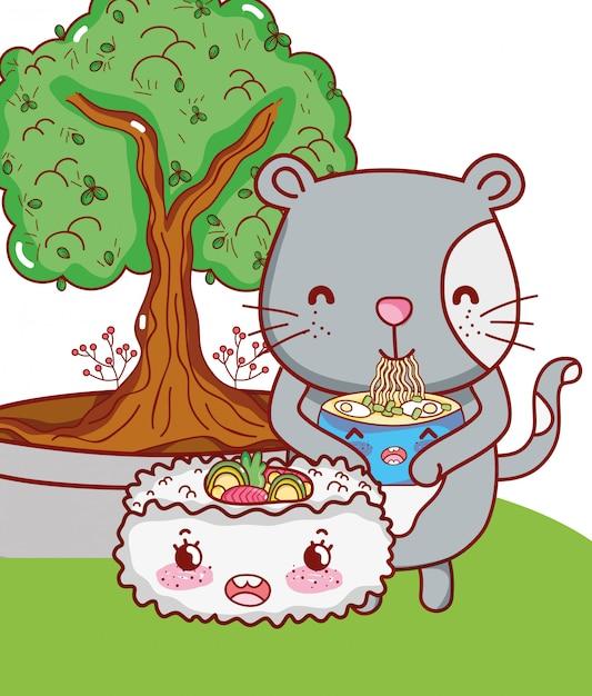 Kat en voedsel kawaii cartoons Premium Vector