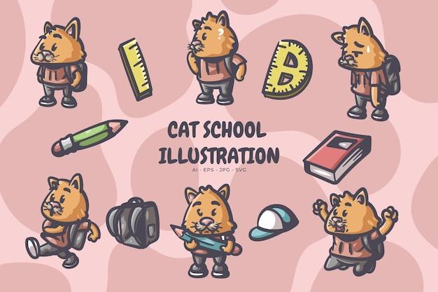 Kat gaat naar school illustratie Premium Vector