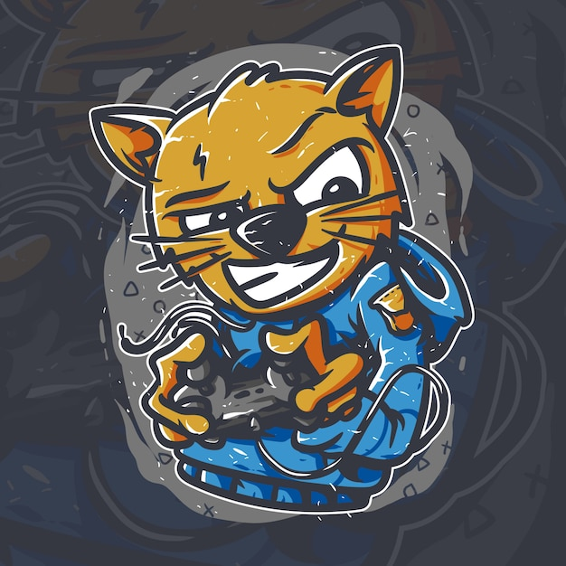 Kat gamer illustraties Premium Vector