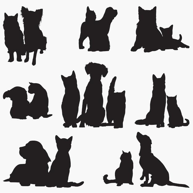 Kat hond Premium Vector