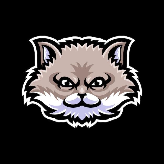 Kat hoofd mascotte logo sjabloon Premium Vector