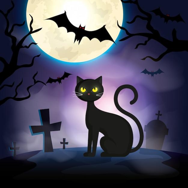 Kat in de donkere de scèneillustratie van nachthalloween Premium Vector