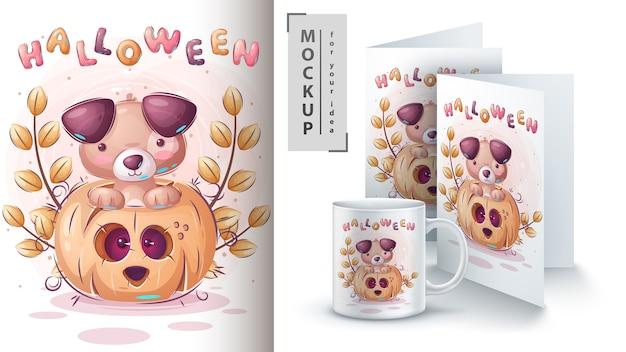 Kat in pompoenposter en merchandising Gratis Vector