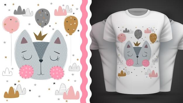 Kat, kat - idee voor print t-shirt Premium Vector