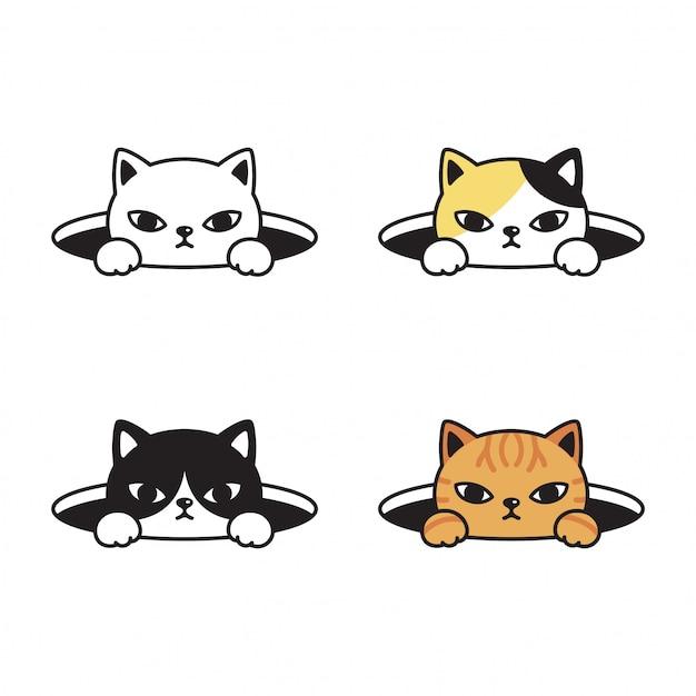 Kat kitten cartoon Premium Vector