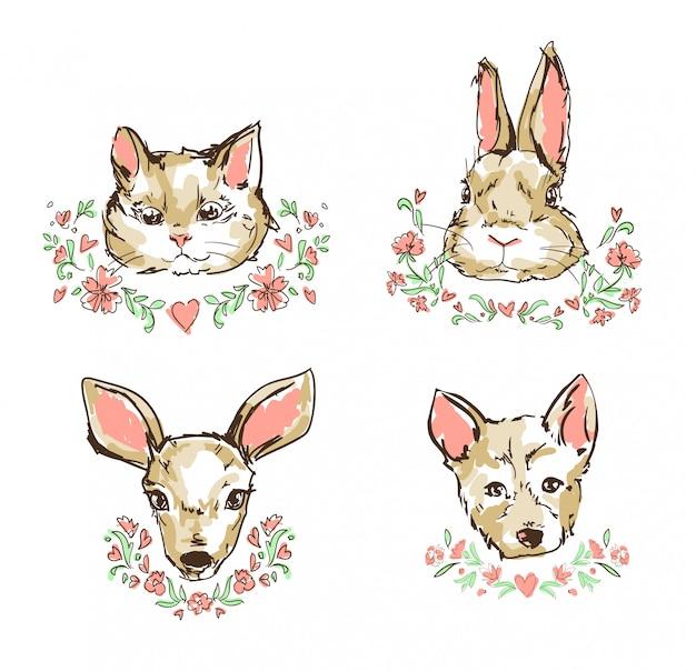 Kat, kitten, herten, konijn, konijn, hond, puppy schattige schets vectorillustratie, bloemen frame Premium Vector