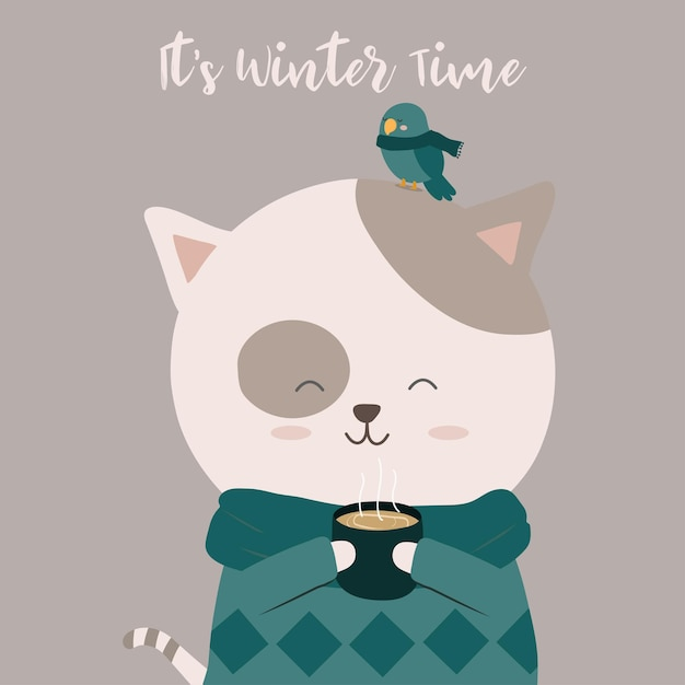 Kat koffie drinken en een vogel zat op zijn kop Gratis Vector