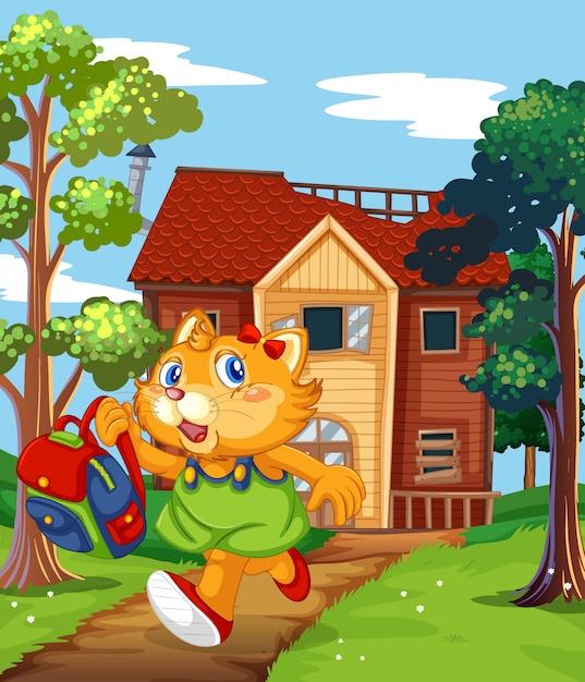 Kat loopt van oud huis Gratis Vector