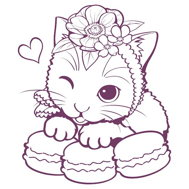 Kat macaron doodle Premium Vector