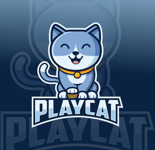Kat mascotte logo ontwerp met esport stijl Premium Vector