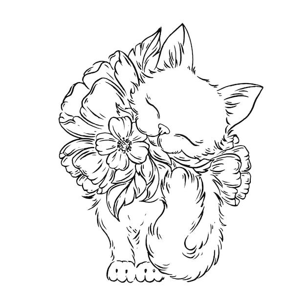 Kat met bloemen. Premium Vector