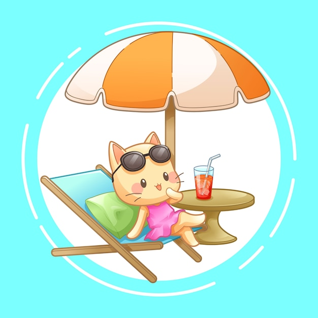 Kat met ligstoel en paraplu op het strand, vector Premium Vector