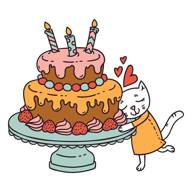 Kat met verjaardagstaart. Premium Vector