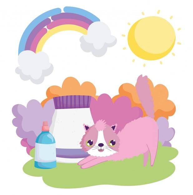 Kat met voedselpakket en dierenartsflessen landschap huisdieren Premium Vector