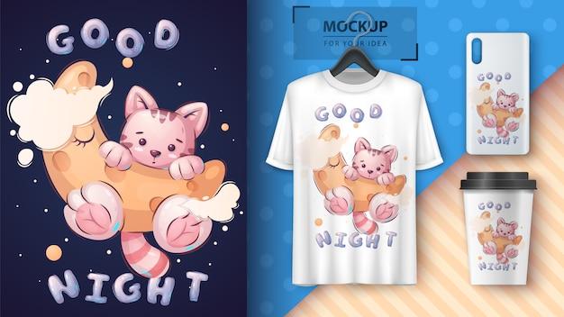 Kat op de maan voor poster en merchandising Premium Vector