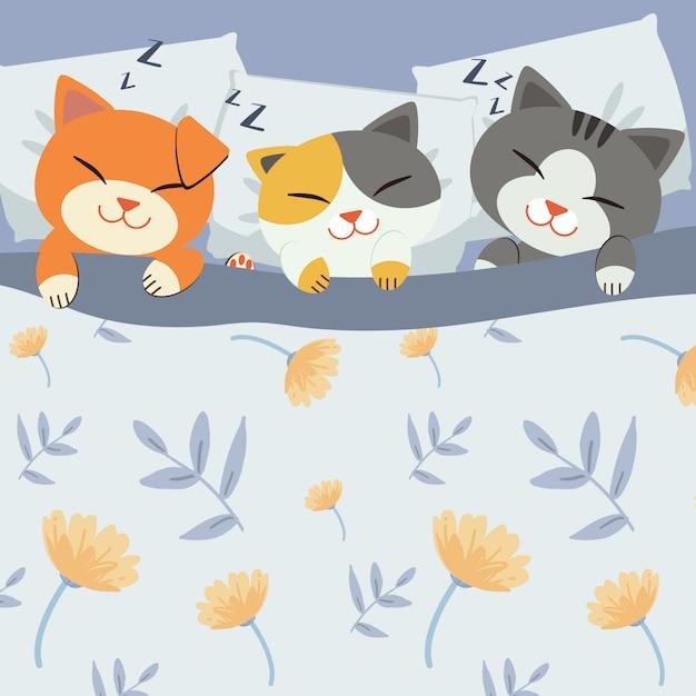 Kat slaapt op het bed. Premium Vector