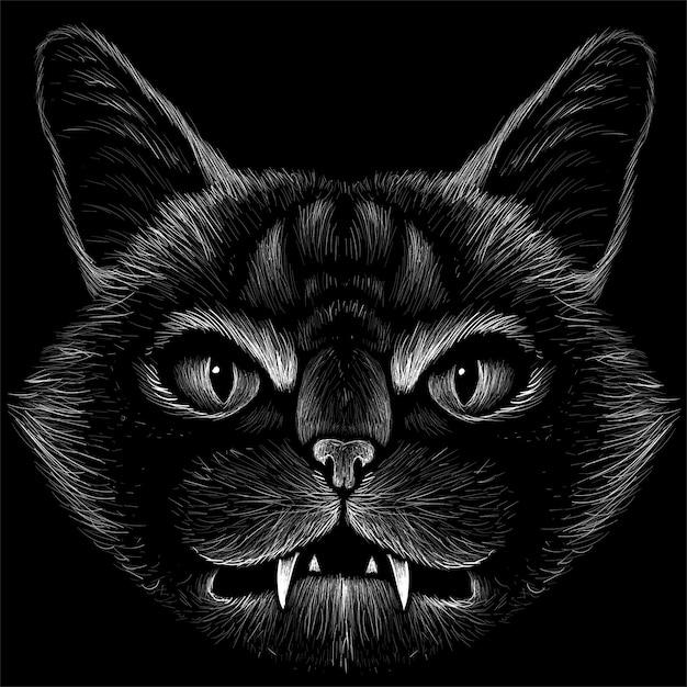 Kat voor tattoo of t-shirt design of uitloper. leuke stijl kat Premium Vector