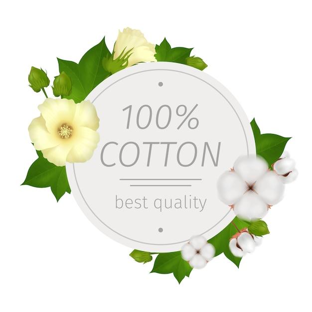 Katoen bloem realistische ronde compositie met de beste kwaliteit beschrijving en bloemen rond Gratis Vector