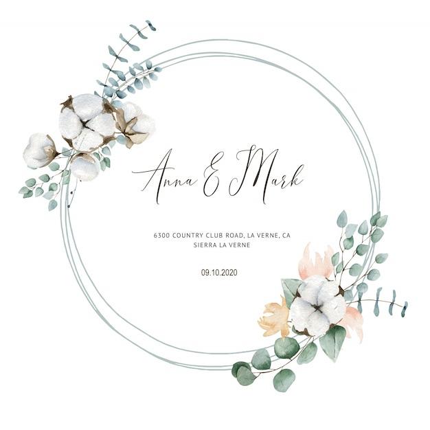 Katoenen huwelijksuitnodiging voor huwelijkskaarten, sparen de datum en de bladeren Premium Vector