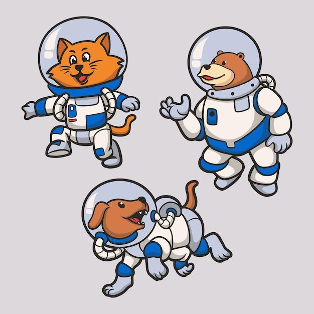 Katten, beren en honden worden astronauten dierenlogo mascotte illustratiepakket Premium Vector