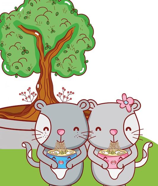 Katten en eten kawaii cartoons Premium Vector