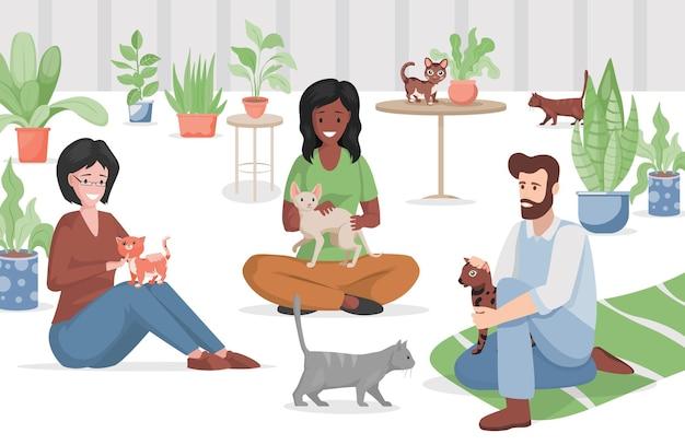 Kattencafé of dierenwinkel vlakke afbeelding. Premium Vector