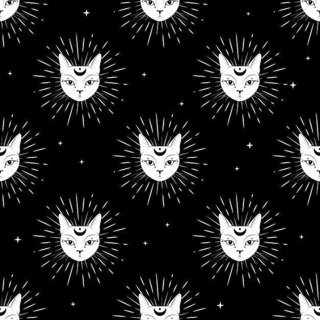 Kattengezicht met maan op naadloze het patroonachtergrond van de nachthemel. Premium Vector