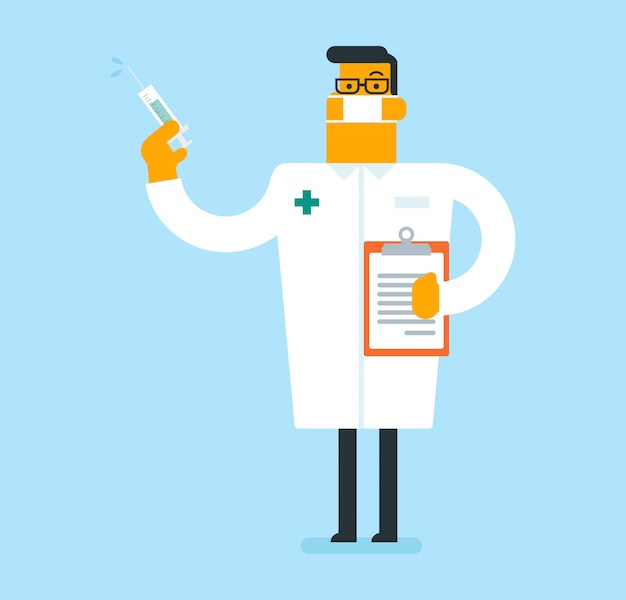 Kaukasische arts die een spuit met vaccin houdt. Premium Vector