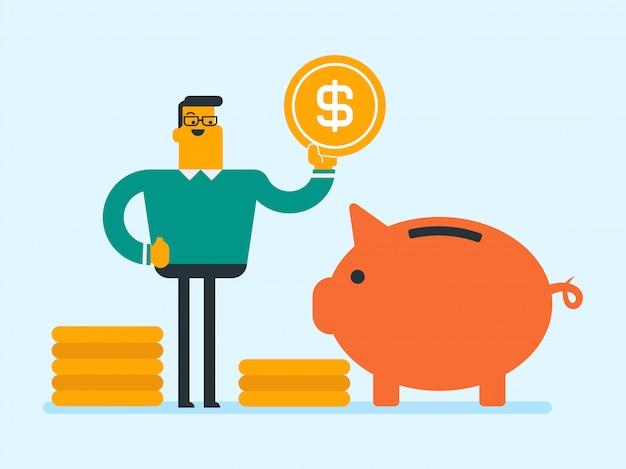 Kaukasische manager die een muntstuk in een spaarvarken zet. Premium Vector