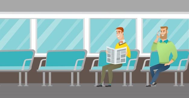 Kaukasische mensen die reizen met het openbaar vervoer. Premium Vector