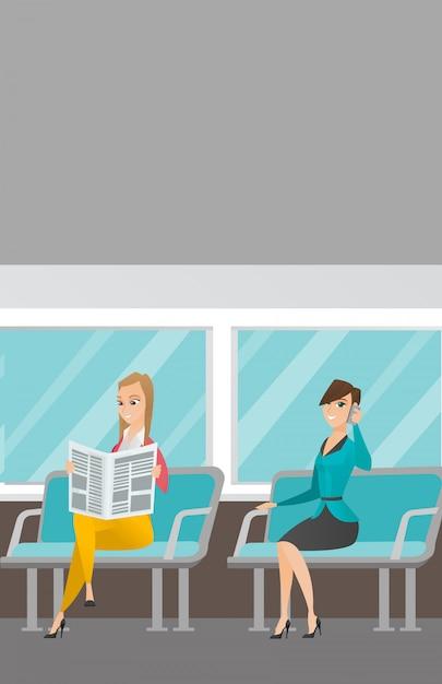 Kaukasische vrouwen die met het openbaar vervoer reizen. Premium Vector