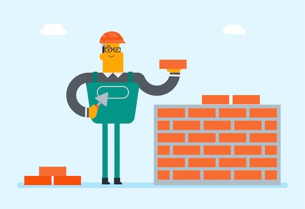 Kaukasische witte bouwer die een bakstenen muur bouwt. Premium Vector